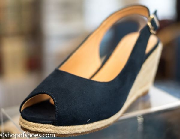 Womens fashionable navy wedge slingback